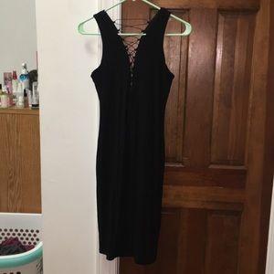 Bardot Black Plunging Midi Cocktail Dress